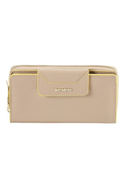 Lady Saffiano II SLG Large Ladies' Wallet with 18 Credit Card Slots and External Zip